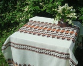 "Swedish Vintage Tablecloth Size 35"" x 55""; Ivory / Orange / Brick / Brown Wool Table Cover; Rustic Table Cloth; Woven Vintage Table Linens"