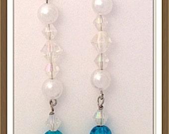 Handmade MWL long dangle blue, silver, clear and pearl earrings. 0056