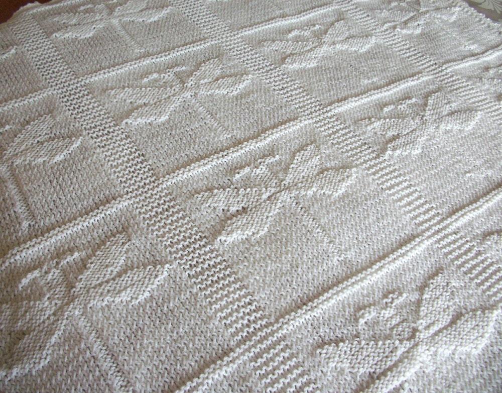 PATTERN Baby Blanket Dragonfly Motiff Blanket Knit by obabydotcom
