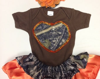 Custom made orange and camo onesie outfit with matching headband