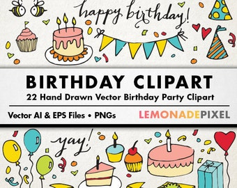 Birthday Party Clipart - hand drawn clip art, birthday cake, birthday vector, party vectors, balloons, confetti, cupcakes, presents, bunting