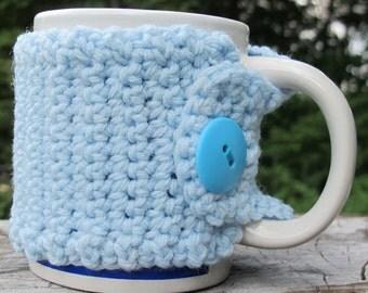 Light Blue Crochet Mug Cozy with Button Ready to Ship