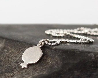 Pomegranate necklace , sterling silver pomegranate pendant , silver initial necklace , dainty necklace , pomegranate jewelry