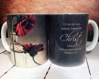 "Custom Inspirational Mugs, Custom Coffee Mugs, Custom Coffee Cups, Custom Ceramic Coffee Mugs, ""Red Gerber Flower Mug"", Custom Mug, Cups"
