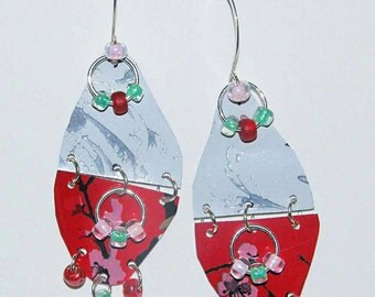 Red, Green & White Dangle Earrings of Upcycled Aluminum showing Wire-work with Glass Bead Embellisments