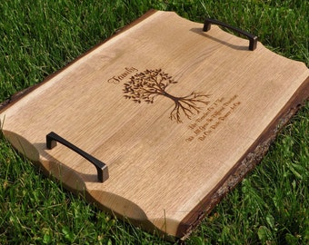 Wedding Gift To Parents. Wedding Gift.  Ottoman Tray. Family Tree.  Personalized Wedding Gift. Serving Tray.  Live Edge Wood.  Family Gift