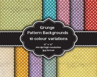 INSTANT DOWNLOAD - Collection of digital grunge pattern backgrounds with ten different colour variations