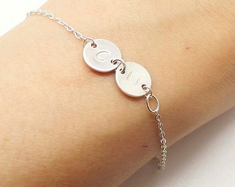 Personalized initial Mother's bracelet - Sideways Initial Bracelete in Sterling Silver - Personalized Jewelry, Personalized Gift,