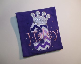 Embroidered and appliqued Princess shirt or bodysuit with a crown