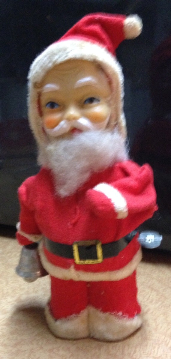 1940's Vintage  Wind Up Santa.  Rings Bell, Pats his  Tummy SALE!!!  WAS 35   now  28.50   SALE!!!!