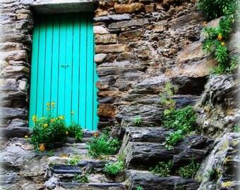Blue Door Photo, Italy Photography, Cinque Terre, Vernazza, Italian Fine Art, Italian Riviera, Rustic Door, Wooden Door, Travel Photography