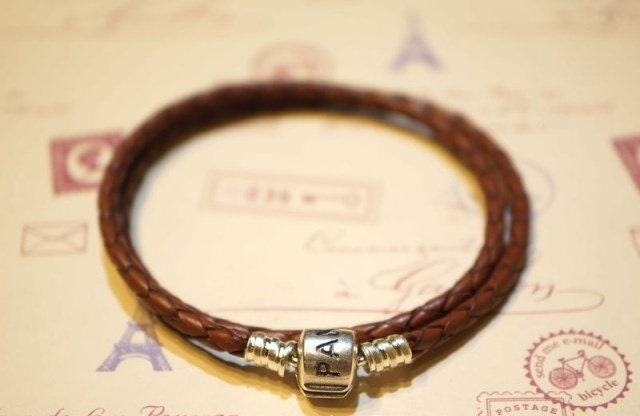 Pandora braided leather bracelet double loops brown