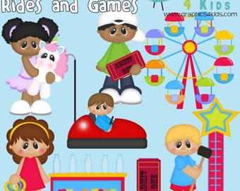 Ticket to fun Carnival Rides and Games Digital Clipart -  for scrapbooking, party invitations - Instant Download Clipart Commercial Use