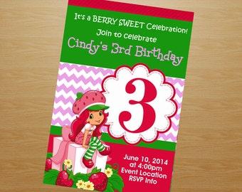 Strawberry Shortcake Birthday Invitation - Strawberry Shortcake Invitation - Strawberry Shortcake Invite - Printable Invitation - Digital