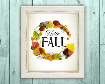 Autumn Decor, fall wall art, Thanksgiving decor, Seasonal Decor Typography Illustration, INSTANT DOWNLOAD, Hello Fall, welcome autumn sign