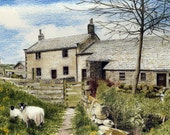 """Greetings card: """"Moorside Farm"""" -  farmhouse, sheep, countryside, landscape, rural scene, old barn, from a painting by Dave Marsh"""