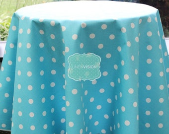 Tablecloth - Premier Prints - POLKA DOTS - Girly Blue - Choose Your Size - Table Linen Wedding Home Decor Dining Kitchen