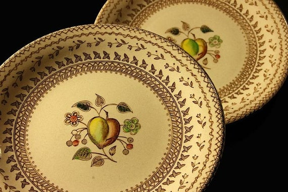 Johnson Bros Old Granite Fruit Sampler Bread and Butter Plates  Set of 2
