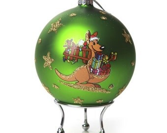 Green Handpainted Glass Christmas Kangaroo Bauble