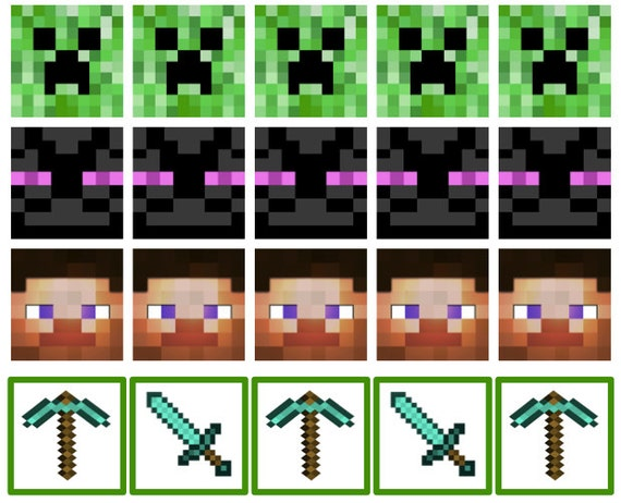 This is an image of Adaptable Printable Minecraft Cupcake Toppers