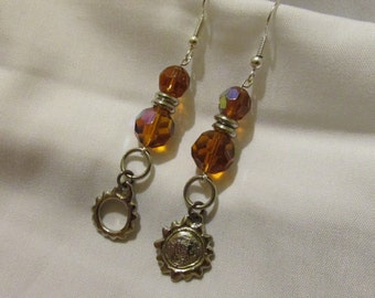 Let the Sun Shine In Dangle Earrings with Faceted Amber Glass Beads