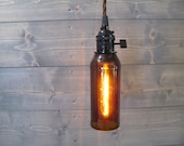 Small Brown Beer Bottle Pendant Light - Upcycled Industrial Glass Ceiling Light