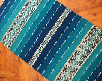 Hand woven wool rug - made to order - blue rug, turquoise rug, striped rug, wool rug, blue wool rug, blue rug runner