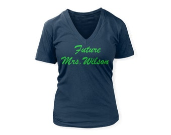 Ladies seattle seahawks future mrs wilson t shirt v for Russell wilson womens t shirt