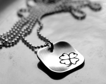 Hand Stamped Shamrock Necklace, Sterling Silver Square Pendant, Four Leaf Clover, St. Patrick's Day Jewelry, Irish, Lucky