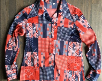 Polyester Ladies Patriotic Western Shirt Quilted Pattern