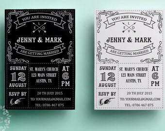 Retro wedding invitation template, printable wedding invitation design, black and white, vintage wedding invite design, typographic card