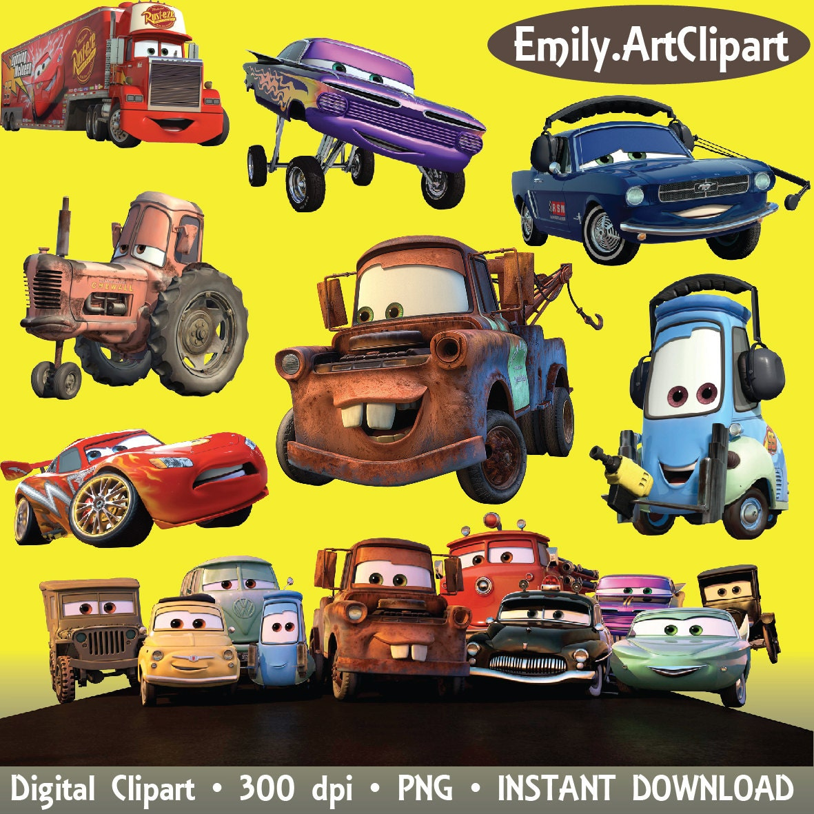 Cars Clipart Disney Cartoon Character 28 PNG Digital Graphic