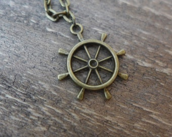 Maritime Ship Wheel Charm Necklace