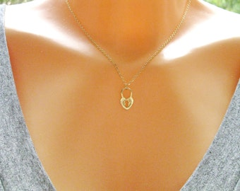Heart Lock necklace, Gold Heart lock charm necklace, open my Heart, her & his gift, by Sara Gal, FREE SHIPPING**