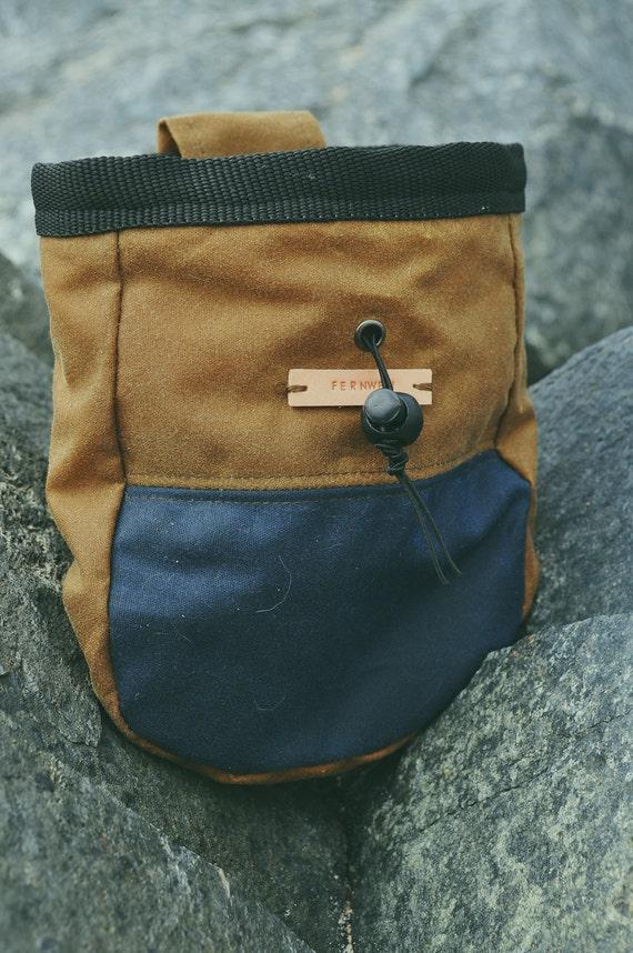 Fernweh  Medium Wax Cotton Rock Climbing Chalk Bag (Tan Brown)