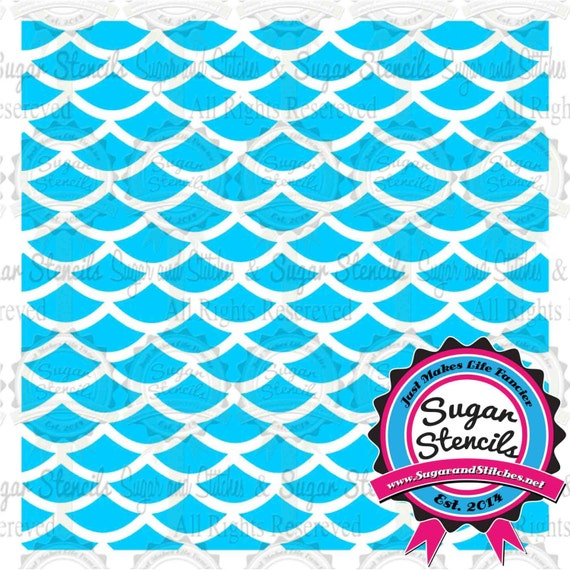 Items similar to fish scale stencil on etsy for Fish scale stencil
