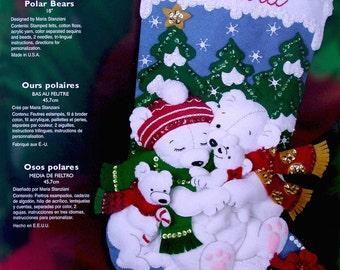 "Bucilla ""Polar Bears"" RARE Felt Stocking Kit NEW"