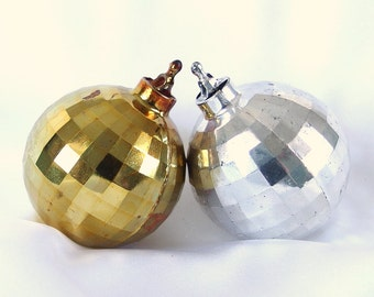 2 Vintage Disco Christmas Ornaments - Silver and Gold Plastic Disco Ball Holiday Ornaments