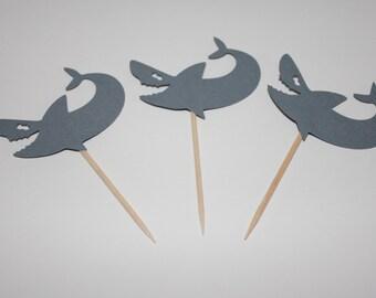Grey Shark Cupcake Toppers