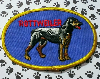 """Vintage 1960's """"RottWeiler'' Dog Breed   Nicely Embroidered Iron-On  Patch 4 1/2'' X 3''"""