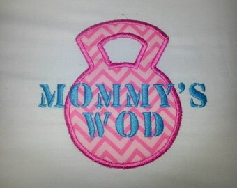 """Kids/Baby Xfit onesie or T-Shirt """"Mommy's WOD"""" Fabric color and thread color of your choice. All sizes available boys or girls"""