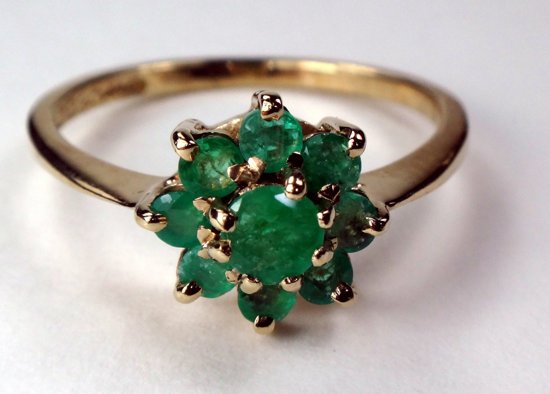 9k vintage gold and emerald ring vintage emerald cluster ring