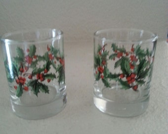 Sale Pair of Christmas Holly Shot Glasses
