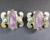 Vintage Estate Sterling Silver Amethyst Earrings 18 grams