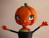 Pumpkin Lady Paper Clay Doll Figurine