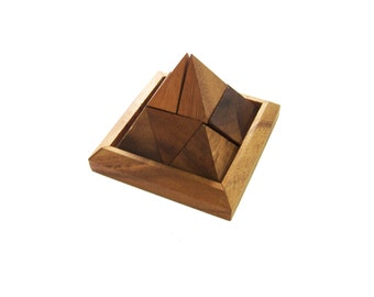 PYRAMID PUZZLE, , Wooden Puzzle, Wooden game, Wood working, handmade, Brain teaser