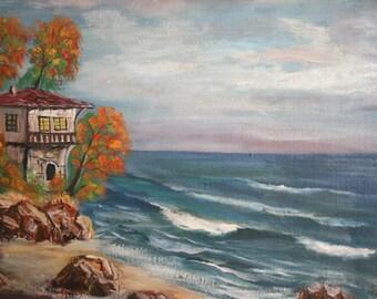 European art oil painting landscape seascape 1970's signed
