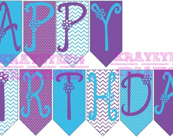 Personalized Purple and Turquoise Happy Birthday Banner