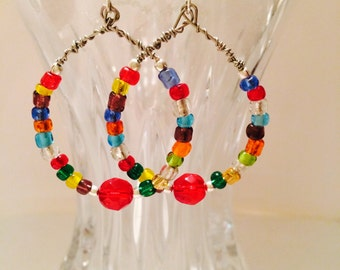 Rainbow Wire Wrapped Beaded Earrings