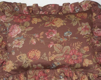 Vintage French floral fabric pillow sham, feather & down  insert